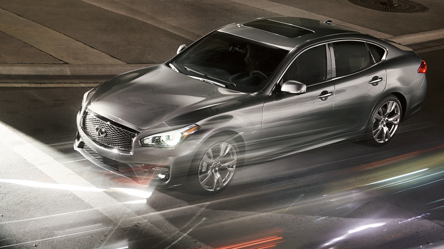 INFINITI Q70 Luxury Sedan Safety Front Action Night Road