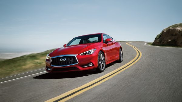 INFINITI Q60 Red Sports Coupe Hill Cliff Features Thumb