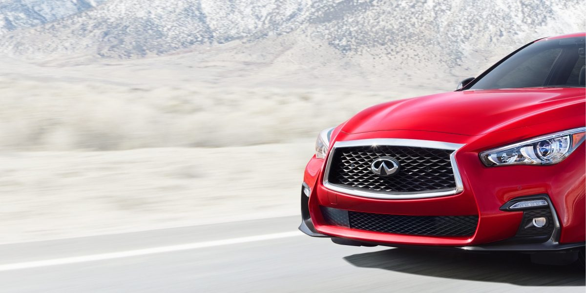 2018 INFINITI Q50 Red Sport Sedan Front fascia Shown in Dynamic Sunstone Red