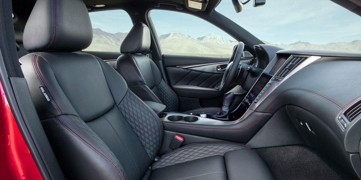 2018 INFINITI Q50 Sports Sedan Interior Quilted Leather-appointed Seats, Dark Chrome Accents and Red Contrast Stitching