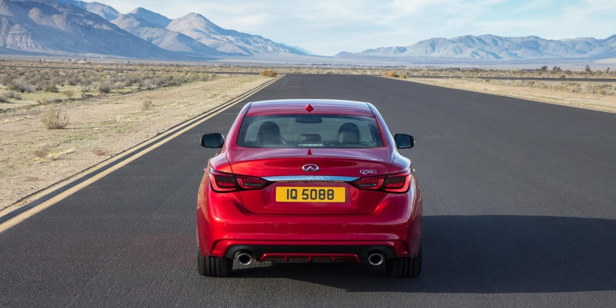 2018 INFINITI Q50 Red Sport Sedan Design Gallery | Rear Signature Profile