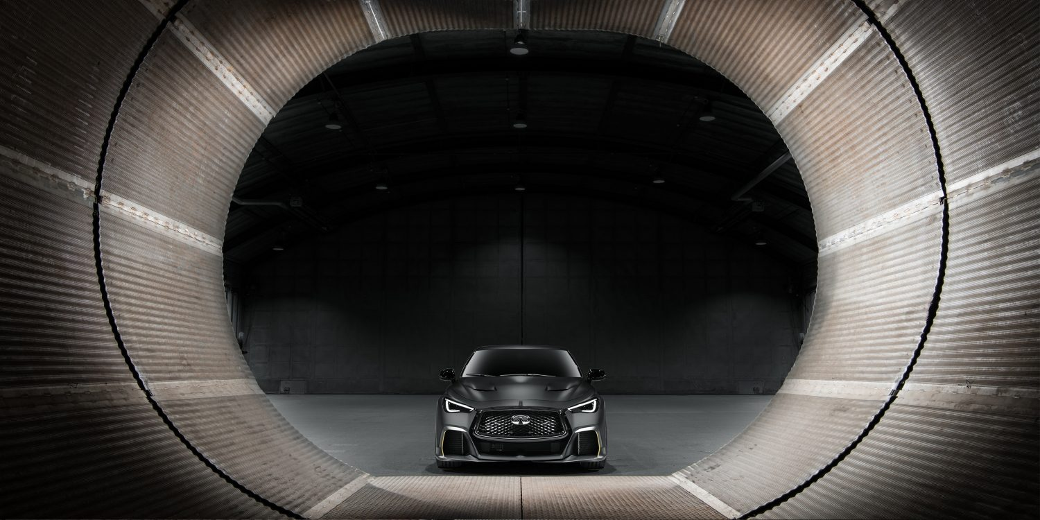 Exterior of the INFINITI Project Black S including aerodynamic rear wings and air intakes