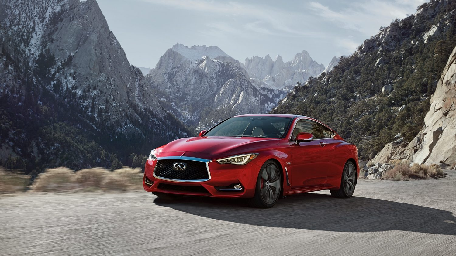 INFINITI Q60 Red Sports Coupe Mountain Road