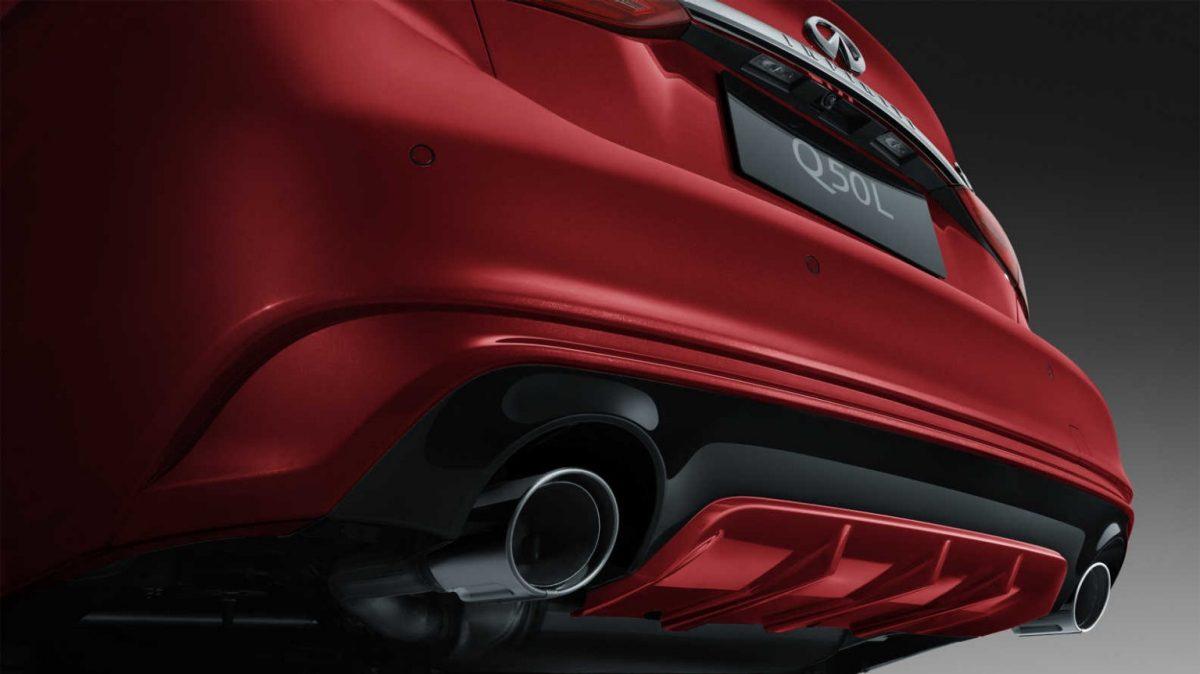 2018 INFINITI Q50 Red Sport Sedan Design Gallery | Rear Signature Profile