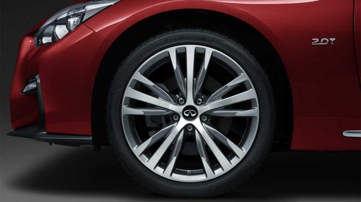 2018 INFINITI Q50 Red Sport Sedan Design Gallery | Right Front Fascia and Signature Profile