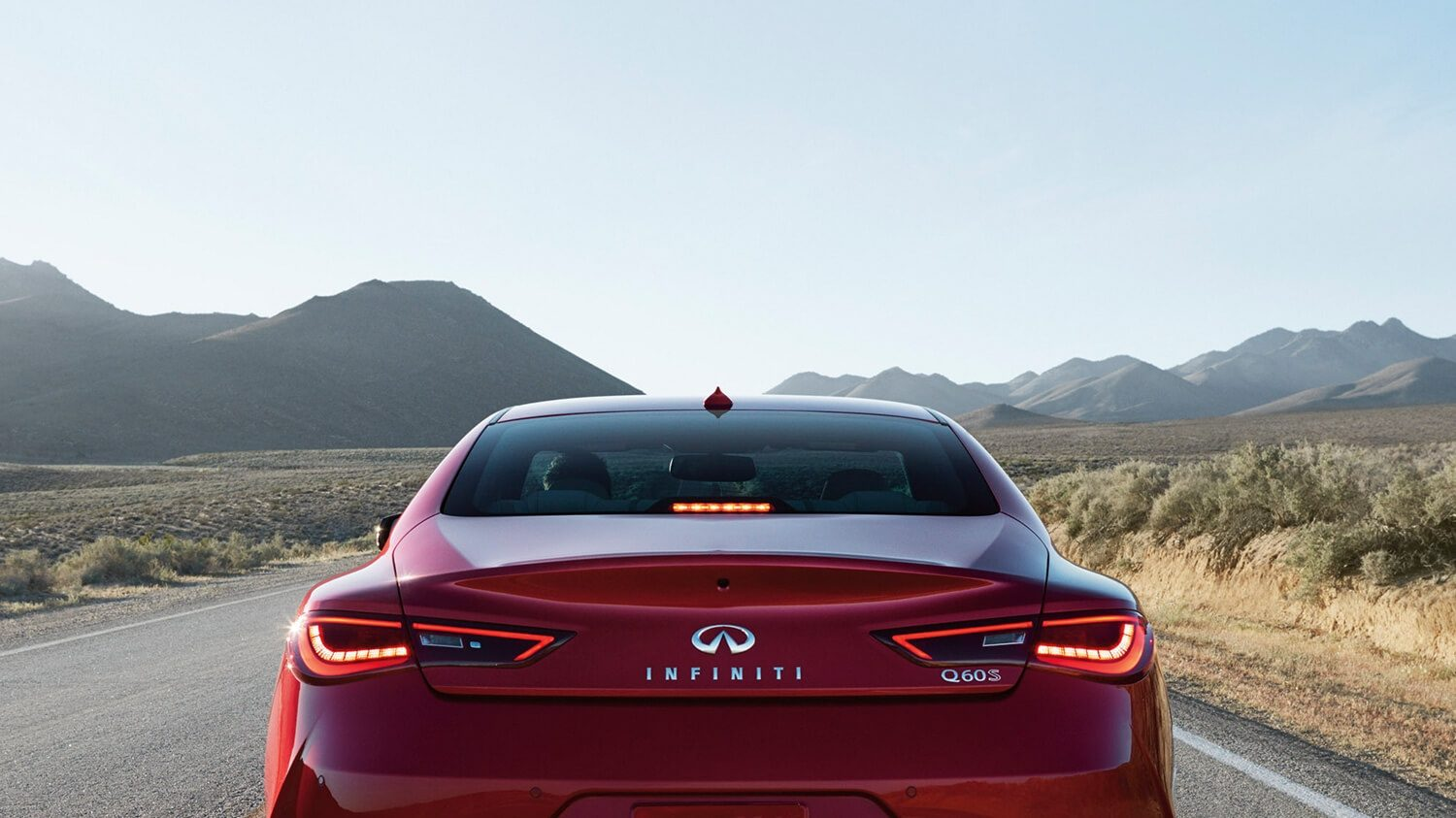 INFINITI Q60 Sporty Coupe Technology Red Sport Rear View